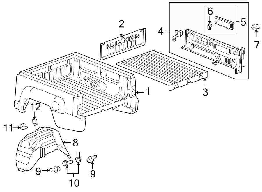 Hummer H3t Truck Bed Assembly  Box  Pubx  Shield  Truck